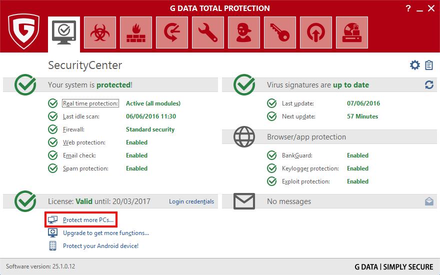 تحميل برنامج الحماية جي داتا انتي فايرس G DATA Antivirus 25